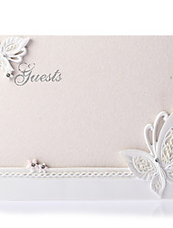 Butterfly Themed Wedding Guest Book in White Resin Sign In Book