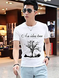 Men's Round Neck Floral Print Short Sleeve T-Shirt