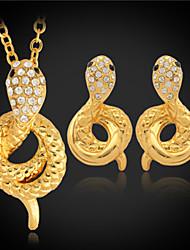 brincos pingente cobra das mulheres u7 luxo definir 18k platina banhado a ouro mulheres strass austríacos