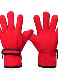 INBIKE Polar Fleece Fabric Red Warm-Keeping Anti-Slip Full Finger Cycling Golves