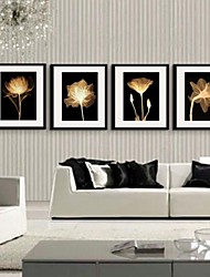Light And Shadow Flower Decorative Painting  Framed Canvas Print Set of 4