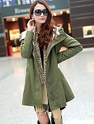 Women's In the long Winter Green Lamb Fur Coat Jacket Outerwear