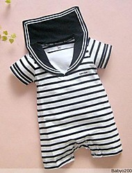 Boys Children's Navy Black Stripes Baby Boy Grow Short Sleeved Bodysuit Jumpsuits