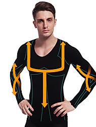 homem emagrecimento camisa roupa térmica de manga longa shaper barriga barriga firme busto de nylon preto ny102