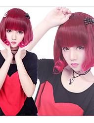 Zipper Cute Fairy Wine Red Short Bob Punk Lolita Wig