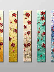 Hand Painted  Modern Floral  Oil Painting with Stretched Frame Set of 5