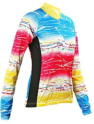 Arsuxeo Women's Colorful Stripe Breathable Long Sleeve Cycling Jersey
