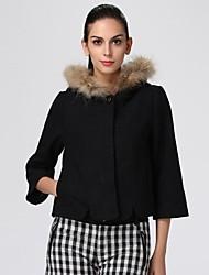 Oxygene Monde® Women's Hooded Poncho-Style Woolen Coat