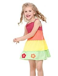 robe sundress mignonnes fleurs de fille cavalier applique en couches robe robe de petit gâteau pour les enfants de robe d'été imprimée aléatoire