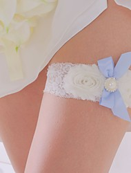 Lace&Satin Wedding Grater With Pearl And Blue Bow