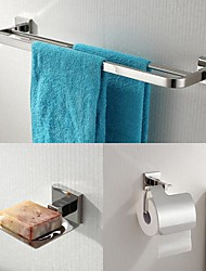 304 Stainless Steel 3 Piece Bathroom Accessories Set  Towel Bar and Soap Dishes and Tissue Holder