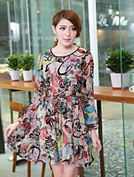 Women's Casual/Daily Plus Size Dress,Print Above Knee Long Sleeve Multi-color Spring / Fall / Winter