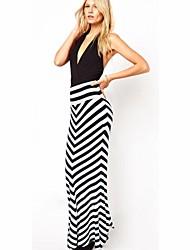 Women's Sexy Highwaist Stripe Bodycon Fishtail Maxi Skirt