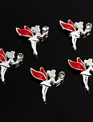 10pcs Red Alloy Rhinestone Fairy Angel 3D Alloy Nail Art Decoration