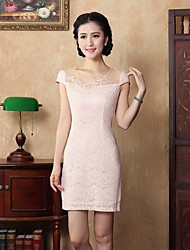Women's Sexy / Bodycon / Casual / Lace / Vintage Lace Sheath Dress , Round Neck Mini Silk / Cotton / Lace