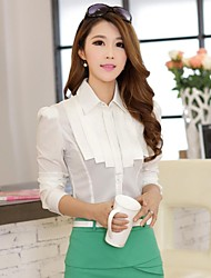 Women's Solid Pink/White Blouse , Shirt Collar Long Sleeve Pleated