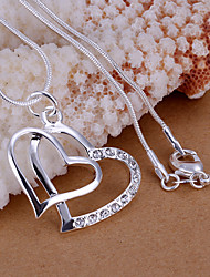 Charming Silver Rhinestone Double  Heart  Shape Women's Pendents