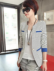 Women's New Elegant OL Stripe Round Collar Slim Blazer Outwear Plus Size