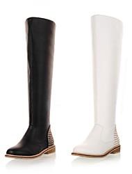 zapatos de las mujeres de montar botas altas de cuero bajo el talón hasta la rodilla superior con cremallera remache más colores disponibles