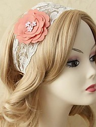 Handmade Back-to-ancients Mori Girl  White Lace Pink Flower Sweet Lolita Headband