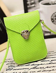 Women's PU Leather Plaid Messenger Mini Cell Phone Bag