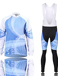 XINTOWN Men's Blu-ray Quick Dry Moisture Absorption Long Sleeve Bib Tights Cycling Suit—Blue