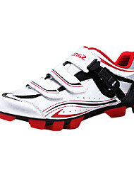 SANTIC Men's Athletic Professional MTB Mountian Bike Cycling Locking Shoes - Silver + Red