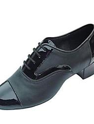 couro superior de salão lace-up sapatos latin calcanhares dos homens