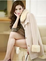 Chaoliu New Western Autumn Winter Womens Medium Size Woolen Coat With Fur Collar