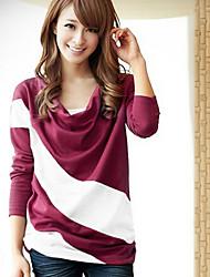 Mokio Women's Korean Fashion Causal Stripes Pattern  Long Sleeve Tshirt