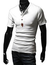 Einfarbig Kurzarm-Shirt