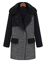 KYL Women's Leisure Thick Wool Tweed Coat