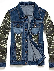 Men's Print Long Sleeve Jacket , Denim Casual