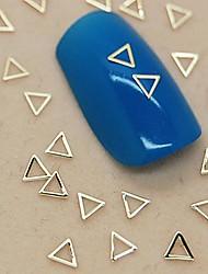 200pcs forma de triângulo oco metal dourado arte fatia decoração de unhas