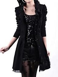 Women's Ruffle Stand Puff Sleeve Slim Long Coat