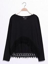 Women's Lace Sweet Long Sleeve Loose Cotton T-Shirt
