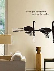 stickers muraux autocollants de mur, canards mandarins modernes qui jouent dans le PVC de l'eau stickers muraux