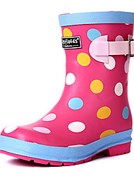 LOSTLANDS Rubber Girls's Flat Heel Colorful Dot Rain Boot Shoes(More Colors)
