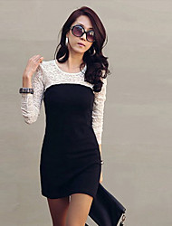 KICAI Sexy Elegant Lace Long Sleeve Slim Dress_Black,White