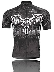 XINTOWN Men 's Evil Spirits Skeleton Breathable Polyester Short Sleeve Cycling Jersey—Black+White