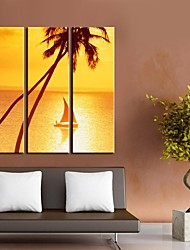 Personalized Canvas Print Sunset At Sea 24x70cm  30x90cm  33x100cm  Gallery Wrapped Art  Set of 3