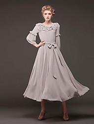 Women's Gray Dress , Vintage/Beach/Cute/Work ¾ Sleeve