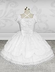 Short Sleeve Knee-length White Cotton Classic Lolita Dress