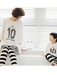 Family's Casual Round Collar Letter Print And Stripe Clothing Sets(T-shirt&Pants)