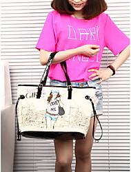 neue Portierung der Frauen moderne Blumendruck-PU-Leder Verbundpackung 44 * 28,5 * 16cm