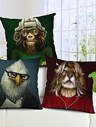 lot de 3 dessin animé imprimé animal coton / lin taie d'oreiller décoratif