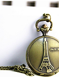Hoko Eiffel Tower Pocket Watch Necklace Vintage Hollow Metal Pattern