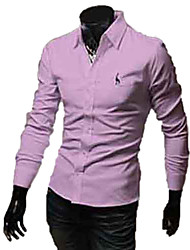 REVERIE UOMO Mannes Stickerei Solid Color Lang Sieeve Shirts
