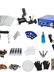 1 Gun Complete No Ink Tattoo Kit with Black Tatoo Machine and Blue Aluminium Alloy Power