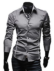 LangTuo Magro Borda Piping Causal camisa de manga longa (Gray)